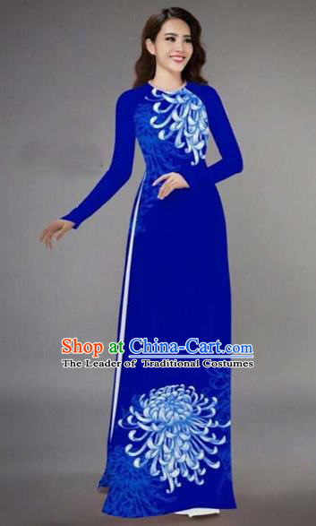Traditional Top Grade Asian Vietnamese Costumes Classical Printing Chrysanthemum Full Dress, Vietnam National Ao Dai Dress Catwalks Blue Qipao for Women
