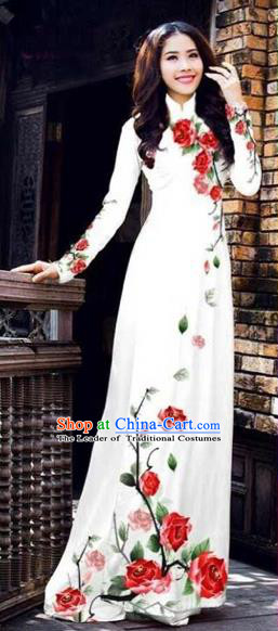 Traditional Top Grade Asian Vietnamese Costumes Classical Printing Flowers Full Dress, Vietnam National Ao Dai Dress Catwalks White Qipao for Women