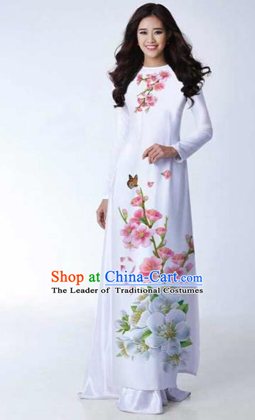 Traditional Top Grade Asian Vietnamese Costumes Classical Printing Peach Blossom Full Dress, Vietnam National Ao Dai Dress Catwalks White Qipao for Women