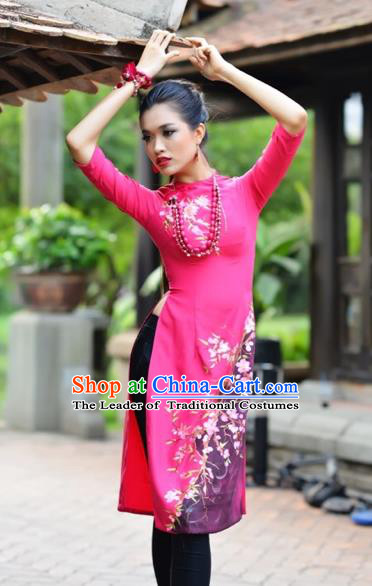 Traditional Top Grade Asian Vietnamese Costumes Classical Printing Flowers Full Dress, Vietnam National Ao Dai Dress Catwalks Rosy Short Qipao for Women