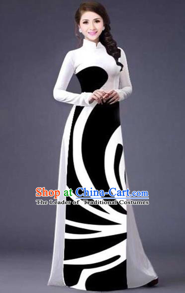 Traditional Top Grade Asian Vietnamese Costumes Classical Stripe Printing Full Dress, Vietnam National Ao Dai Dress Catwalks White Qipao for Women