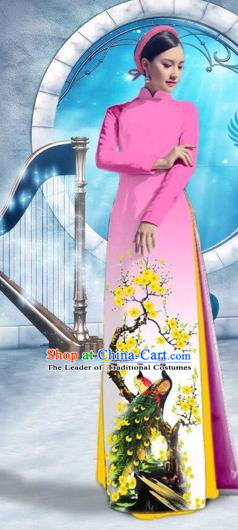 Traditional Top Grade Asian Vietnamese Costumes Classical Printing Peacock Full Dress, Vietnam National Ao Dai Dress Catwalks Debutante Pink Qipao for Women