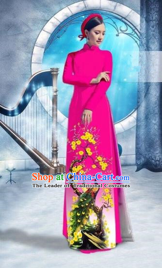 Traditional Top Grade Asian Vietnamese Costumes Classical Printing Peacock Full Dress, Vietnam National Ao Dai Dress Catwalks Debutante Rosy Qipao for Women