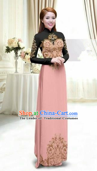 Traditional Top Grade Asian Vietnamese Costumes Classical Printing Full Dress, Vietnam National Ao Dai Dress Catwalks Debutante Lace Pink Qipao for Women