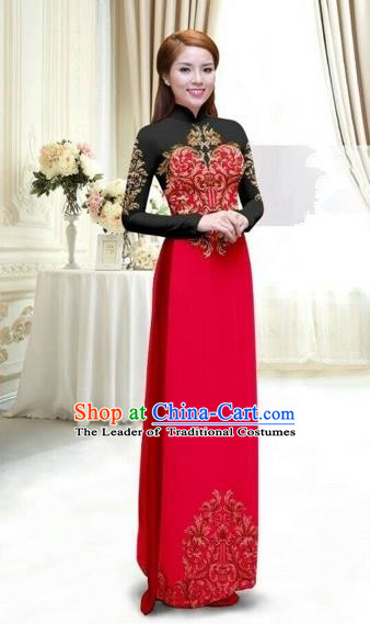 Traditional Top Grade Asian Vietnamese Costumes Classical Printing Full Dress, Vietnam National Ao Dai Dress Catwalks Debutante Lace Red Qipao for Women