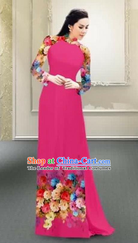 Traditional Top Grade Asian Vietnamese Costumes Classical Printing Flowers Full Dress, Vietnam National Ao Dai Dress Catwalks Debutante Rosy Qipao for Women