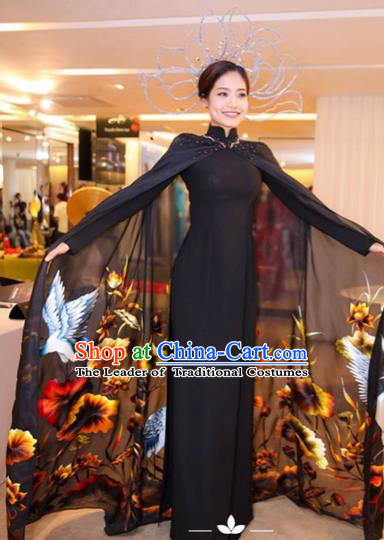 Traditional Top Grade Asian Vietnamese Costumes Classical Printing Full Dress with Cloak, Vietnam National Ao Dai Dress Catwalks Debutante Black Qipao for Women