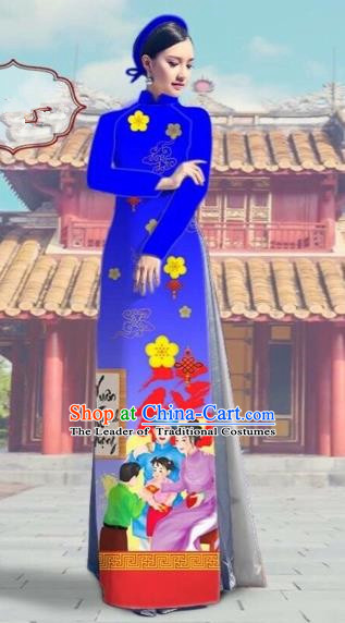 Traditional Top Grade Asian Vietnamese Costumes Classical Printing Royalblue Full Dress, Vietnam National Ao Dai Dress Catwalks Debutante Happy New Year Qipao for Women