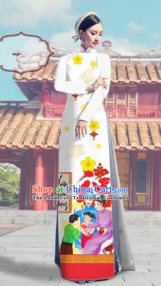 Traditional Top Grade Asian Vietnamese Costumes Classical Printing White Full Dress, Vietnam National Ao Dai Dress Catwalks Debutante Happy New Year Qipao for Women