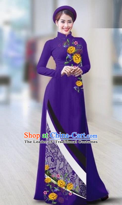 Traditional Top Grade Asian Vietnamese Costumes Classical Printing Full Dress Dance Cothing, Vietnam National Ao Dai Dress Catwalks Debutante Purple Qipao for Women