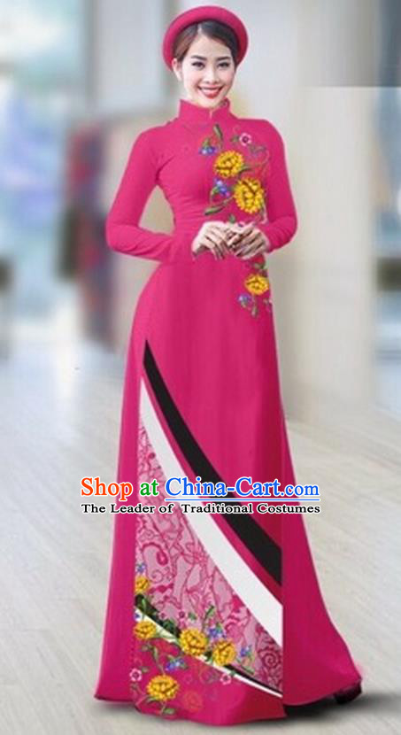 Traditional Top Grade Asian Vietnamese Costumes Classical Printing Full Dress Dance Cothing, Vietnam National Ao Dai Dress Catwalks Debutante Rosy Qipao for Women