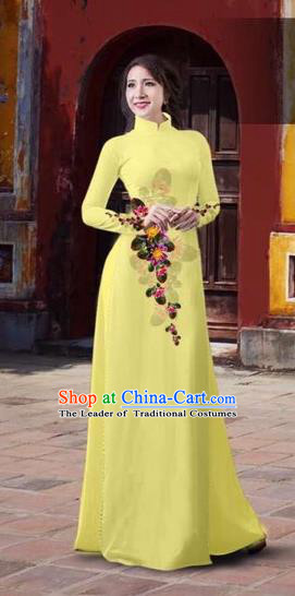 Traditional Top Grade Asian Vietnamese Costumes Classical 3D Printing Flowers Full Dress, Vietnam National Ao Dai Dress Catwalks Debutante Yellow Qipao for Women