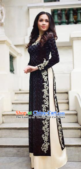 Traditional Top Grade Asian Vietnamese Costumes Classical Manual Embroider Bead Full Dress, Vietnam National Ao Dai Dress Black Cheongsam for Women