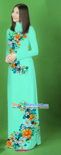 Traditional Top Grade Asian Vietnamese Costumes Classical Printing Flower Full Dress, Vietnam National Ao Dai Dress Blue Cheongsam for Women