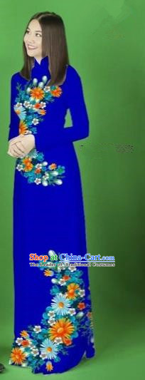 Traditional Top Grade Asian Vietnamese Costumes Classical Printing Flower Full Dress, Vietnam National Ao Dai Dress Royalblue Cheongsam for Women