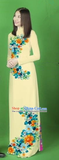 Traditional Top Grade Asian Vietnamese Costumes Classical Printing Flower Full Dress, Vietnam National Ao Dai Dress Light Yellow Cheongsam for Women