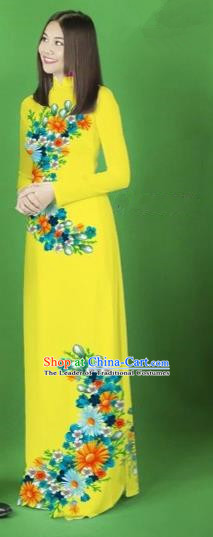 Traditional Top Grade Asian Vietnamese Costumes Classical Printing Flower Full Dress, Vietnam National Ao Dai Dress Yellow Cheongsam for Women