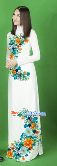 Traditional Top Grade Asian Vietnamese Costumes Classical Printing Flower Full Dress, Vietnam National Ao Dai Dress White Cheongsam for Women