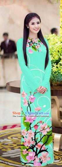 Traditional Top Grade Asian Vietnamese Costumes Classical Printing Peach Blossom Full Dress, Vietnam National Ao Dai Dress Blacklight Blue Cheongsam for Women