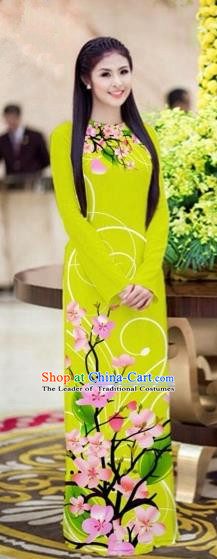 Traditional Top Grade Asian Vietnamese Costumes Classical Printing Peach Blossom Princess Full Dress, Vietnam National Ao Dai Dress Grass Green Cheongsam for Women