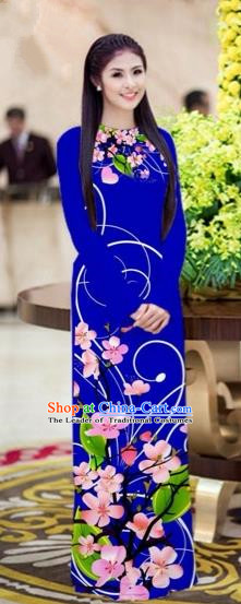 Traditional Top Grade Asian Vietnamese Costumes Classical Printing Peach Blossom Princess Full Dress, Vietnam National Ao Dai Dress Royalblue Cheongsam for Women