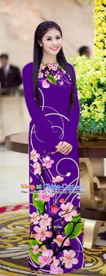 Traditional Top Grade Asian Vietnamese Costumes Classical Printing Peach Blossom Princess Full Dress, Vietnam National Ao Dai Dress Purple Cheongsam for Women