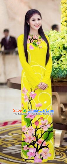 Traditional Top Grade Asian Vietnamese Costumes Classical Printing Peach Blossom Princess Full Dress, Vietnam National Ao Dai Dress Yellow Cheongsam for Women