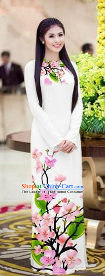 Traditional Top Grade Asian Vietnamese Costumes Classical Printing Peach Blossom Princess Full Dress, Vietnam National Ao Dai Dress White Cheongsam for Women