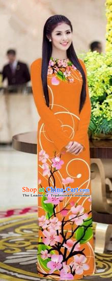 Traditional Top Grade Asian Vietnamese Costumes Classical Printing Peach Blossom Princess Full Dress, Vietnam National Ao Dai Dress Orange Cheongsam for Women