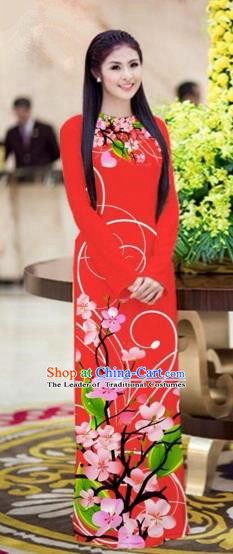 Traditional Top Grade Asian Vietnamese Costumes Classical Printing Peach Blossom Princess Full Dress, Vietnam National Ao Dai Dress Red Cheongsam for Women