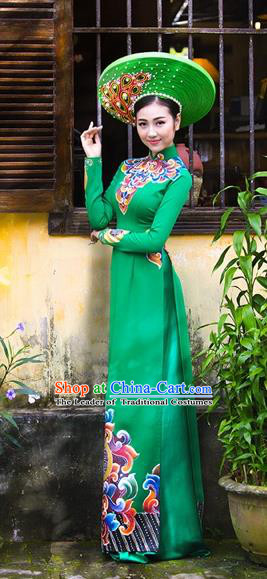 Traditional Top Grade Asian Vietnamese Costumes Classical Printing Bride Full Dress, Vietnam National Ao Dai Dress Wedding Green Cheongsam for Women