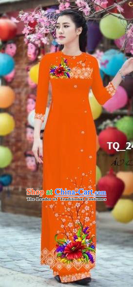 Traditional Top Grade Asian Vietnamese Costumes Classical 3D Printing Bride Full Dress, Vietnam National Ao Dai Dress Orange Cheongsam for Women
