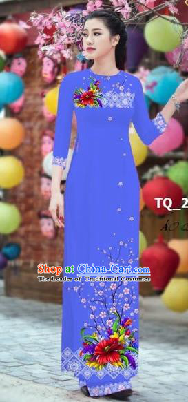 Traditional Top Grade Asian Vietnamese Costumes Classical 3D Printing Bride Full Dress, Vietnam National Ao Dai Dress Blue Cheongsam for Women