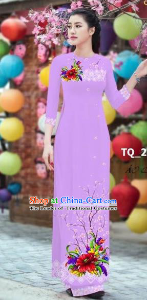 Traditional Top Grade Asian Vietnamese Costumes Classical 3D Printing Bride Full Dress, Vietnam National Ao Dai Dress Purple Cheongsam for Women