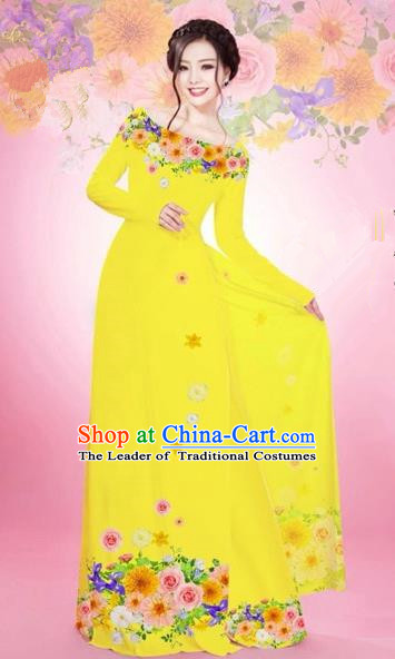 Traditional Top Grade Asian Vietnamese Costumes Classical Printing Flowers Bride Off Shoulder Full Dress, Vietnam National Ao Dai Dress Yellow Chiffon Cheongsam for Women