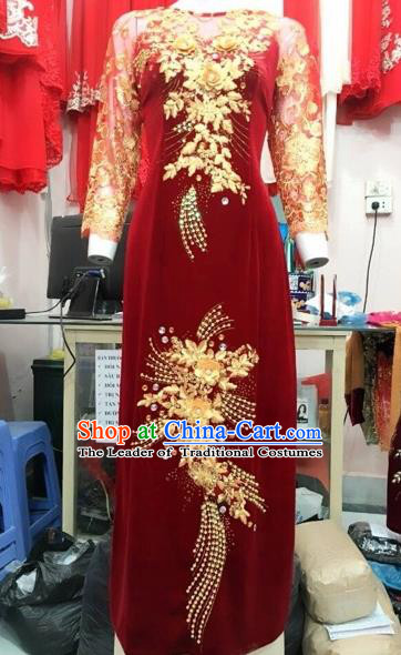 Traditional Top Grade Asian Vietnamese Costumes Classical Wedding Full Dress, Vietnam National Ao Dai Dress Catwalks Debutante Bride Lace Qipao for Women