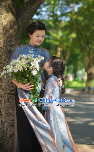 Traditional Top Grade Asian Vietnamese Costumes Classical Grey Full Dress, Vietnam National Ao Dai Dress Mother-daughter Qipao for Women for Kids