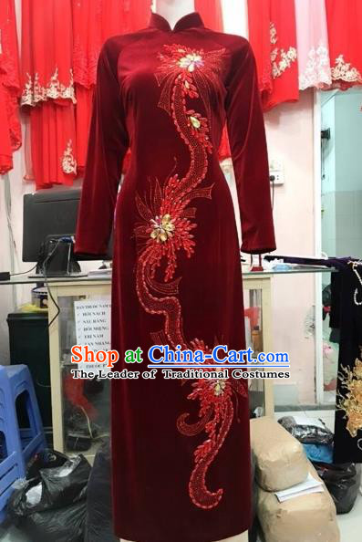 Traditional Top Grade Asian Vietnamese Costumes Classical Manual Embroider Bead Full Dress, Vietnam National Ao Dai Dress Catwalks Debutante Qipao for Women