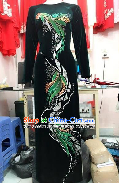 Traditional Top Grade Asian Vietnamese Costumes Classical Manual Embroider Full Dress, Vietnam National Ao Dai Dress Catwalks Debutante Pleuche Qipao for Women