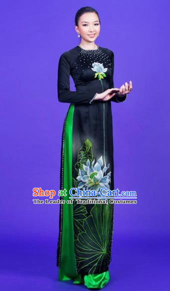 Traditional Top Grade Asian Vietnamese Costumes Classical Hand Painting Full Dress, Vietnam National Ao Dai Dress Catwalks Debutante Black Qipao for Women