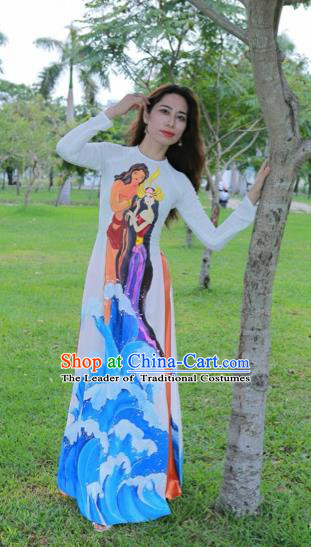 Traditional Top Grade Asian Vietnamese Costumes Classical Hand Painting Full Dress, Vietnam National Ao Dai Dress Catwalks Debutante White Qipao for Women