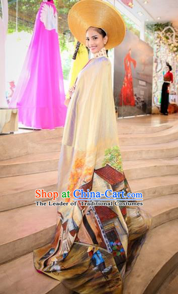 Traditional Top Grade Asian Vietnamese Costumes Classical Wedding Bride Full Dress with Cloak, Vietnam National Ao Dai Dress Catwalks Debutante Qipao for Women