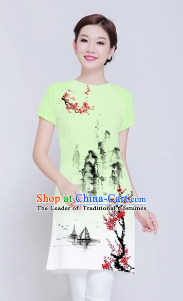 Traditional Top Grade Asian Vietnamese Costumes Classical Ink Wash Painting Full Dress, Vietnam National Ao Dai Dress Green Short Qipao Dance Clothing for Women