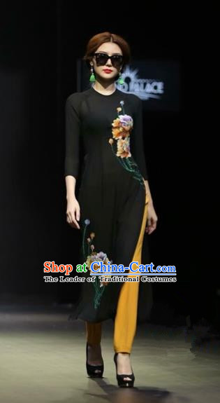 Traditional Top Grade Asian Vietnamese Costumes Classical Hand Painting Flower Full Dress, Vietnam National Ao Dai Dress Black Short Qipao for Women