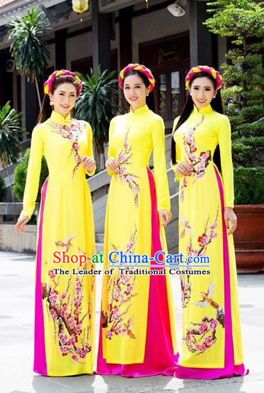 Traditional Top Grade Asian Vietnamese Costumes Classical Bride Toast Full Dress, Vietnam National Ao Dai Dress Hand Painting Plum Blossom Cheongsam for Women