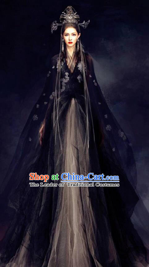Traditional Chinese Ancient Shang Dynasty Imperial Empress Su Daji Costume and Headwear, China Mythology Television Zhao Ge Ancient Queen Clothing Complete Set for Women