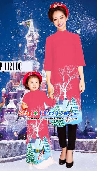 Traditional Top Grade Asian Vietnamese Costumes Classical Printing Christmas Pink Full Dress, Vietnam National Ao Dai Dress Mother-daughter Cheongsam for Women for Kids