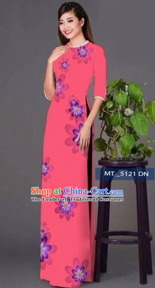 Traditional Top Grade Asian Vietnamese Costumes Classical Princess Full Dress, Vietnam National Ao Dai Dress Pink Cheongsam for Women