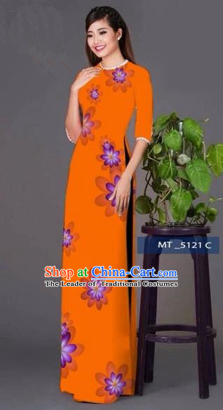Traditional Top Grade Asian Vietnamese Costumes Classical Princess Full Dress, Vietnam National Ao Dai Dress Orange Cheongsam for Women