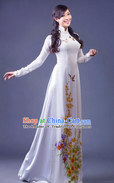 Traditional Top Grade Asian Vietnamese Costumes Classical Princess Printing Butterfly Full Dress, Vietnam National Ao Dai Dress White Cheongsam for Women